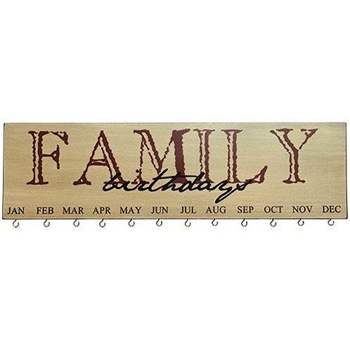 Family Birthday Calendar Burgundy