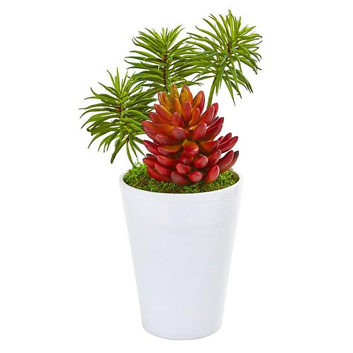 """12""""  Mixed Succulents Artificial Plant in White Vase"""