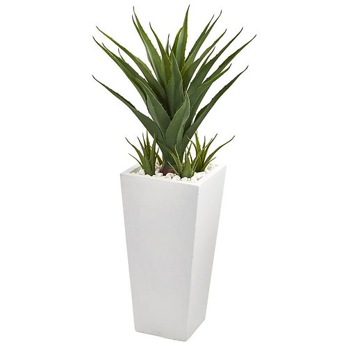 "40""  Spiky Agave Artificial Plant in White Planter"