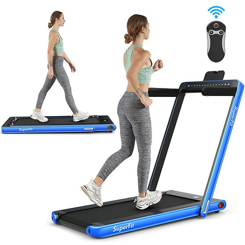 2 in 1 Folding Treadmill Dual Display with Bluetooth Speaker-Blue