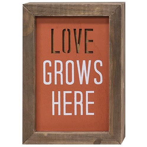 Love Grows Here Framed Cutout Sign