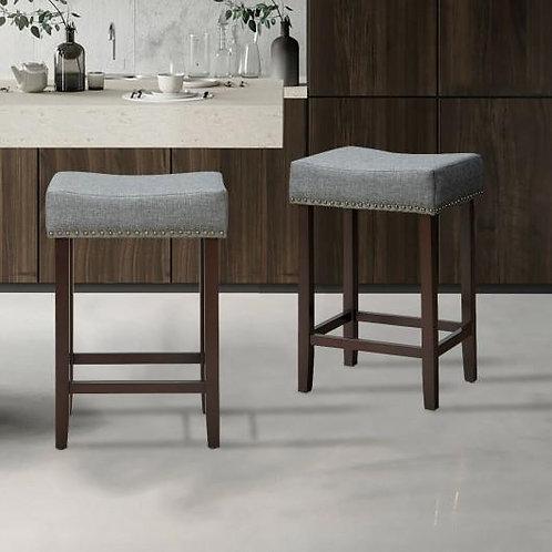 2 pcs Nailhead Saddle Bar Stools with Fabric Seat & Wood Legs-Gray