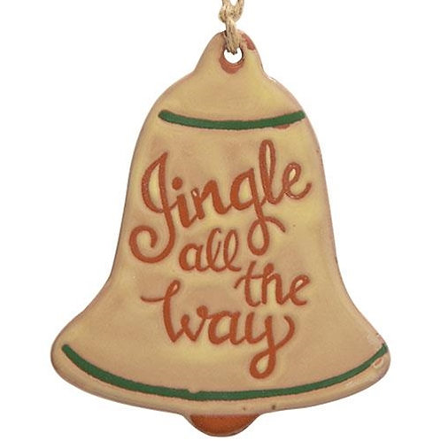 Pack of 4 Jingle All The Way Ceramic Bell Ornament