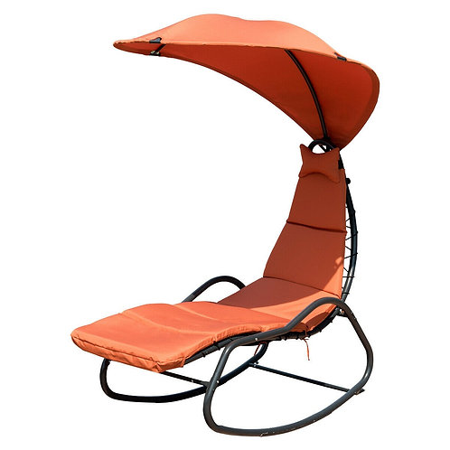 Patio Hanging Swing Chaise Lounge Chair-Beige