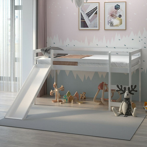 Twin Size Low Sturdy Loft Bed with Slide Wood -White