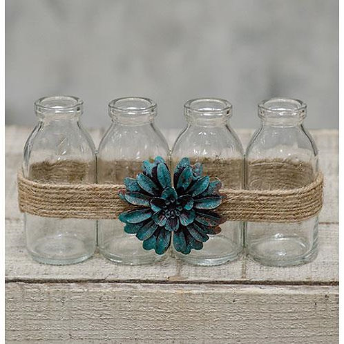 *Glass Bottles w/Green Flower