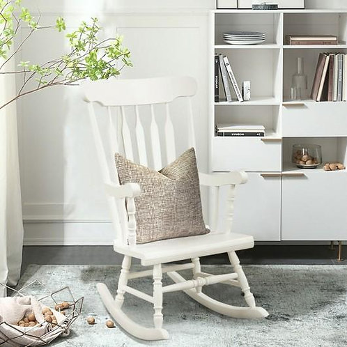 Solid Wood Porch Glossy Finish Rocking Chair-White
