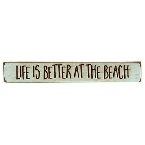 """Pack of 4 Life is Better at the Beach Engraved Block 12"""""""