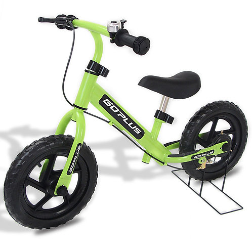 """12"""" Four Colors Kids Balance Bike Scooter with Brakes and Bell-Green"""