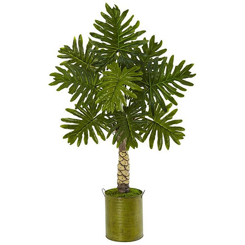 4.5' Monstera Tree in Green Metal Planter