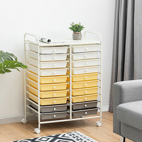 20 Drawers Storage Rolling Cart Studio Organizer-Yellow