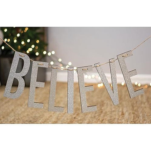 """Believe"" Silver Wood Garland Small"