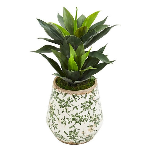 "27""  Double Agave Artificial Plant in Decorative Planter"