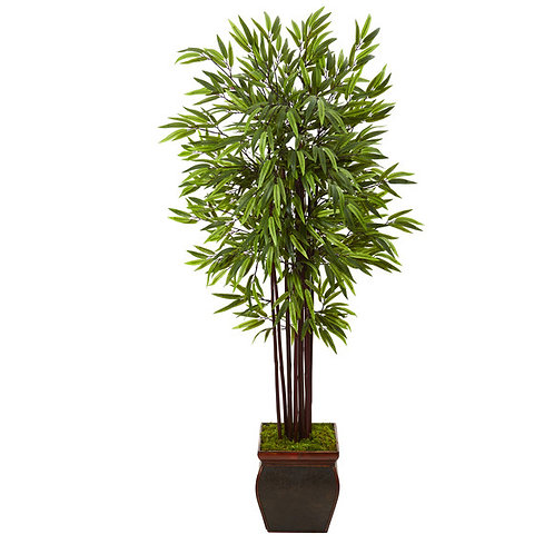 "67"" Bamboo Artificial Tree in Decorative Planter"