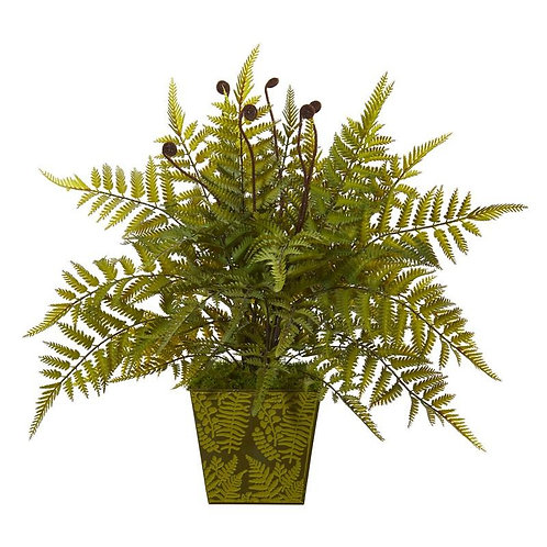 "19""  Fern Artificial Plant in Green Planter"