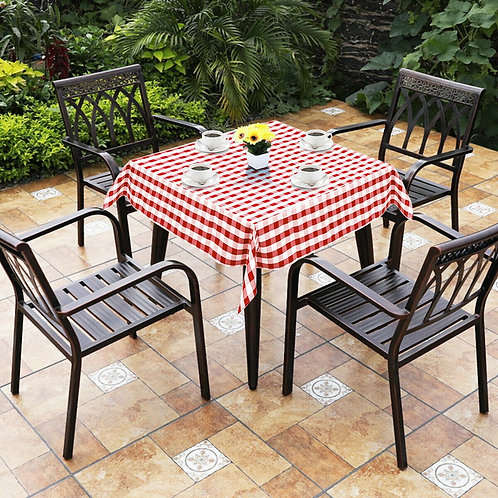 """10 Pcs 52"""" x 52"""" Square Polyester Plaid Dinner Tablecloth-Red"""
