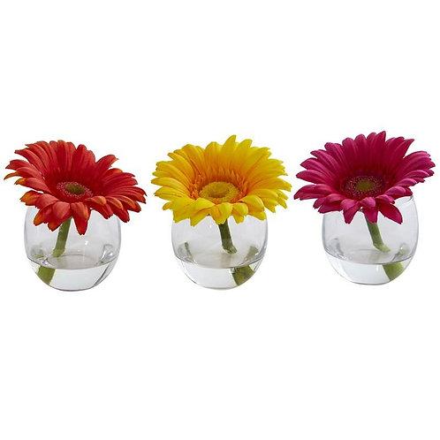 Gerbera Daisy Artificial Arrangement in Glass Vase (Set of 3)