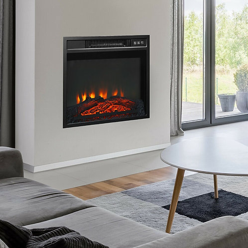 """18"""" Electric Fireplace Freestanding & Wall-Mounted Heater Log Flame"""