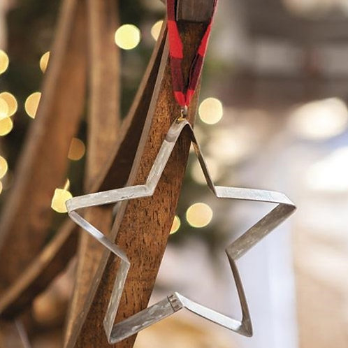 Pack of 2 *Star Cookie Cutter Buffalo Check Ornament