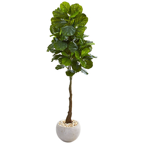 "65""  Fiddle Leaf Artificial Tree in Sand Colored Planter (Real Touch)"