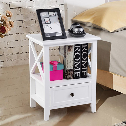 2 pcs Living Room End Side Nightstands with Storage Drawer-White