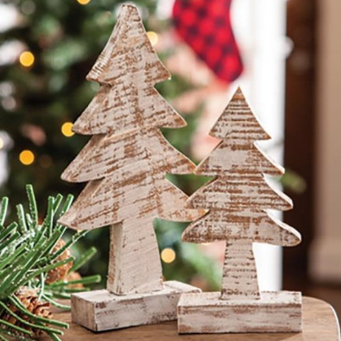 Pack of 2 Distressed Wooden Tree 8 inch