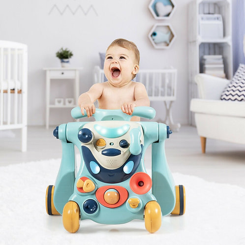 2-in-1 Baby Walker with Activity Center -Blue