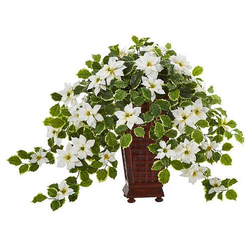 """25"""" Poinsettia and Variegated Holly Artificial Plant in Planter (Real Touch)"""