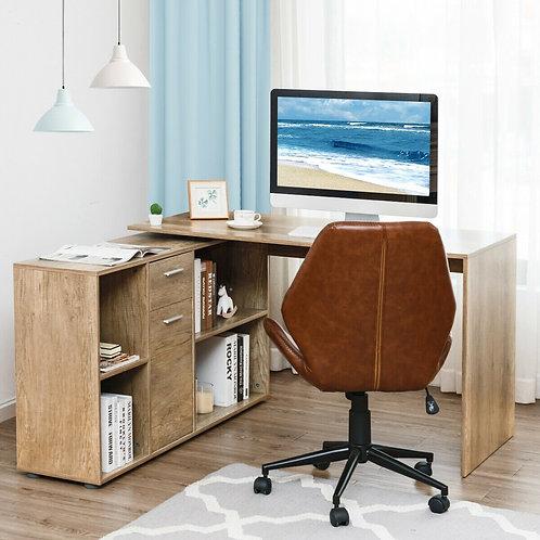 Rotating L-Shape Corner Writing Study Computer Desk-Black