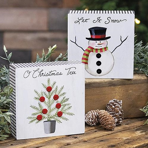 Pack of 2 Let It Snow Gingham Box Sign