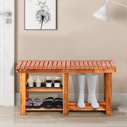3-Tier Wood Shoe Rack Shoe Bench Freestanding Boots Storage Organizer