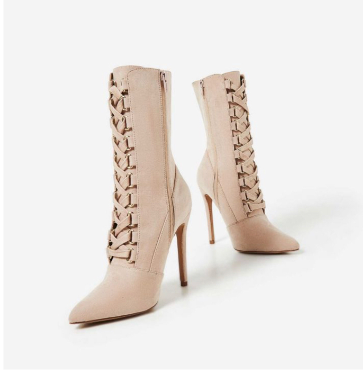 Cleo Pointed Toe Lace Up Ankle Boot