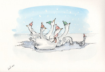 Seven swans a swimming.