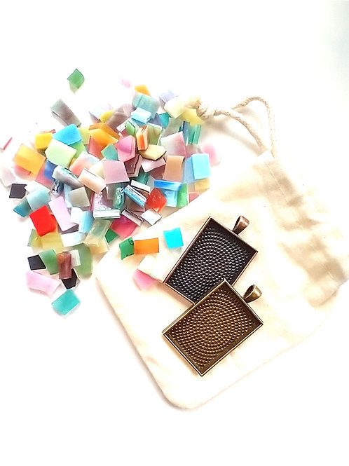 DIY Mosaic Pendant Kits- Pre-cut Stained Glass tiles