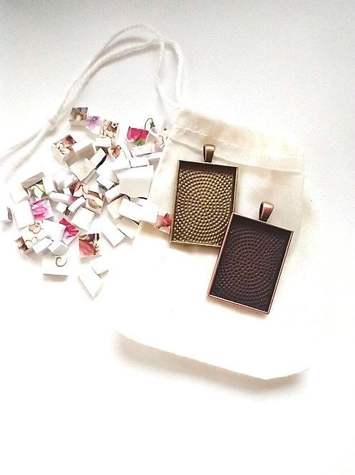DIY Mosaic Pendant Kits- Pre-cut Ceramic tiles