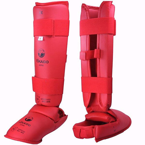 WKF-APPROVED TOKAIDO KARATE SHIN & FOOT PROTECTORS-RED