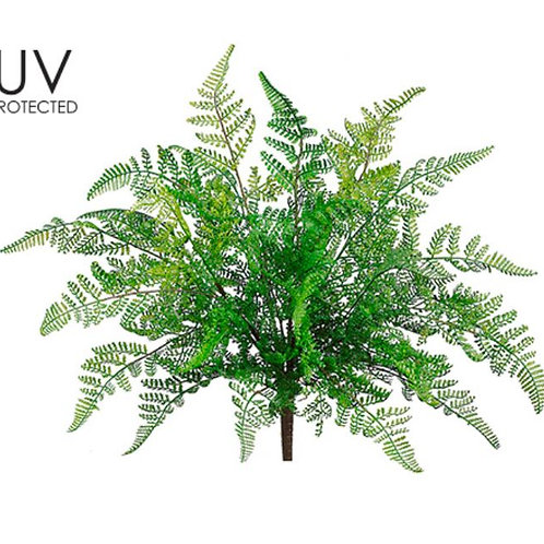 "UV Protected Leather Fern Bush - 17"" Long"