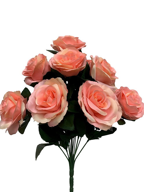 "17"" Satin Rose Bush x 12 (INT398-Beige Pink)"