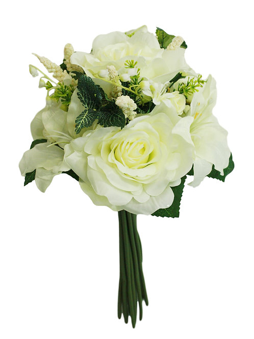 """14"""" Silk Rose, Lily Bouquet"""