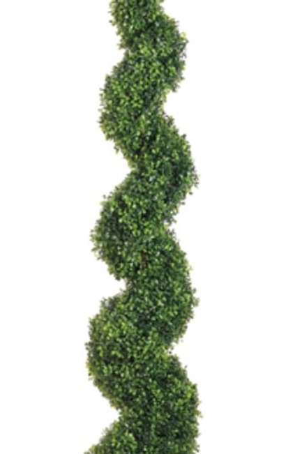 5' Artificial Knock -Down Pond Boxwood Spiral Topiary in Plastic Pot