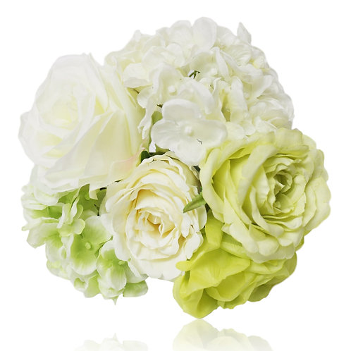 "Silk Rose Hydrangea Bouquet - 11"" Long"