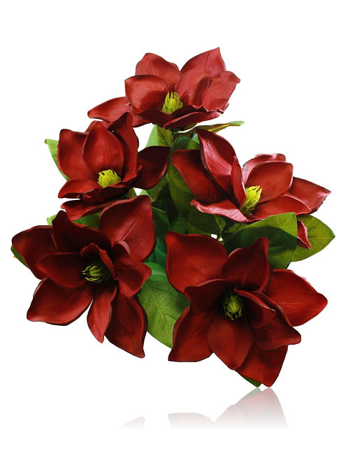 "Artificial Burgundy Magnolia Flower Bush x 5 -23"" Long"