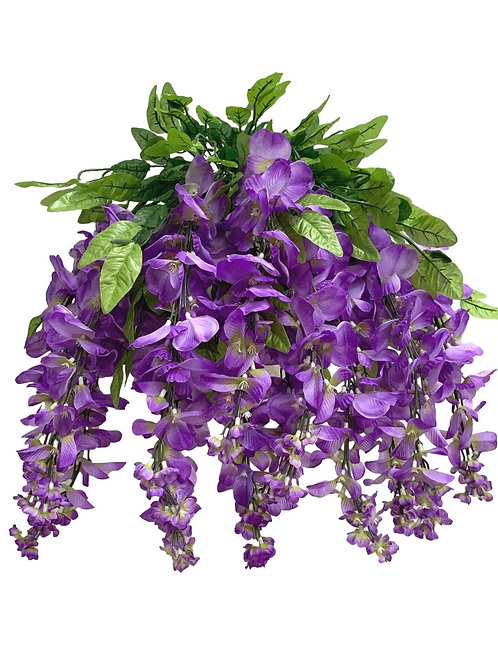 "35"" Wisteria Flower Hanging Bush X 13 (INT-587-13-LILAC)"