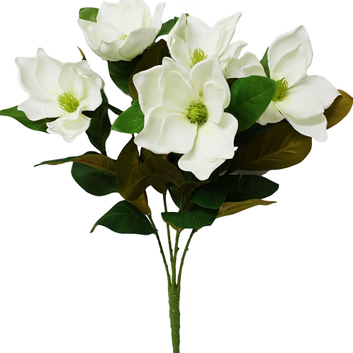 "Artificial White Magnolia Flower Bush x 5 -23"" Long"