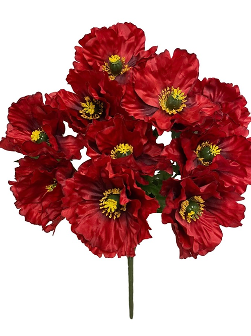 "19"" Satin Poppy Bush x 10"