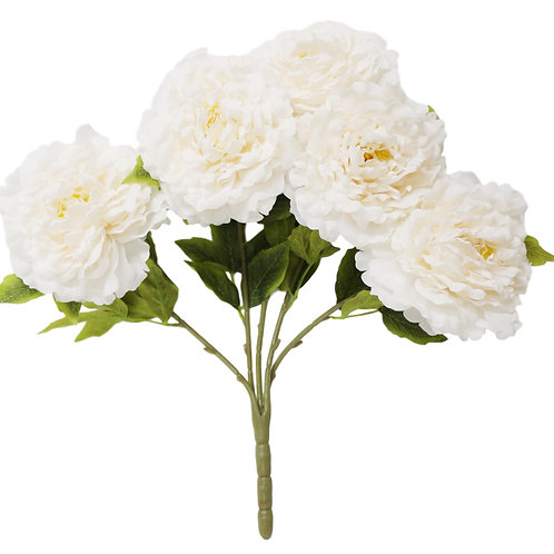 "Silk Ivory Peony Bush With 5 Flowers -21"" Long"