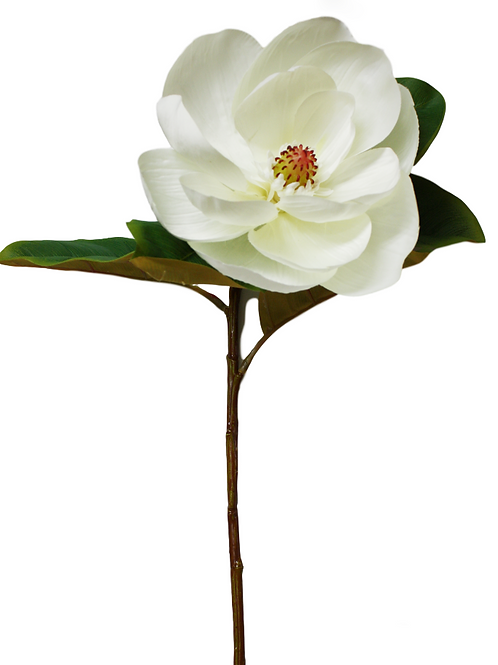 "Silk Single Stem Cream Magnolia Flower - 29"" Long"
