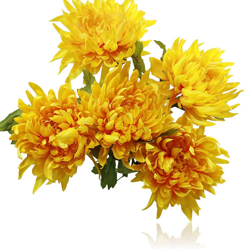 "Satin Yellow Mum Bush x 5 - 22"" Long"