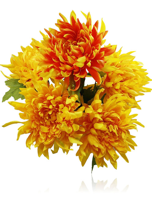 "Satin Orange Yellow Mum Bush x 5 -22"" Long"