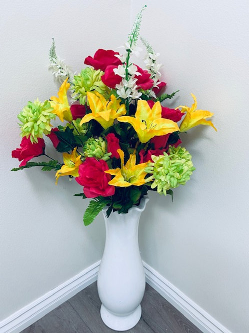 """34"""" GIANT MIXED SILK FLOWER BUSH WITH ROSE, LILY, MUM, DELPHINIUM"""